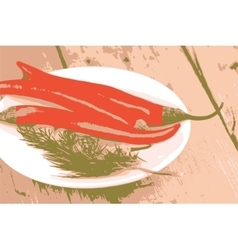 A lot of pepper on white plate vector