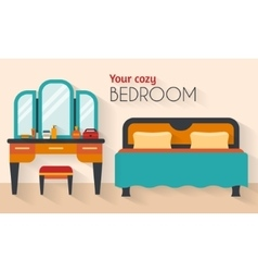 Bedroom with furniture and woman boudoir vector