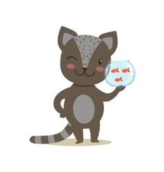 Black little girly cute kitten holding aquarium vector
