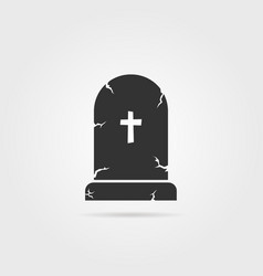 black tombstone with shadow vector image