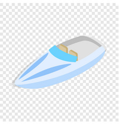 Blue speed boat isometric icon vector