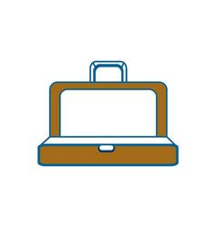 Brown elegant suitcase open vector
