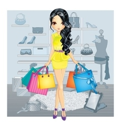 Brunette Gir In Shoes Store vector image vector image