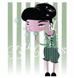 bubble girl vector image