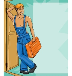 Cartoon character of plumber in a uniform vector image