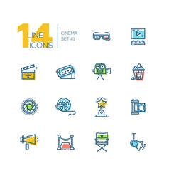 Cinema and movie thick line icons set vector