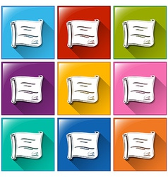 Colourful square buttons with certificates vector