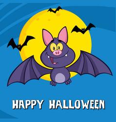 Cute vampire bat cartoon character flying vector