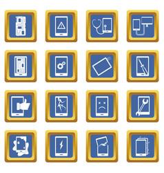 Device repair symbols icons set blue vector