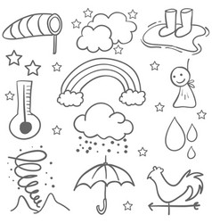Doodle of weather set object art vector