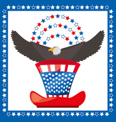 Eagle and american hat patriotic symbol vector