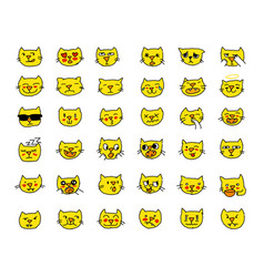 Emoji sticker set cat head yellow color different vector