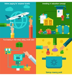 Flat concepts set of online paying startup and vector image