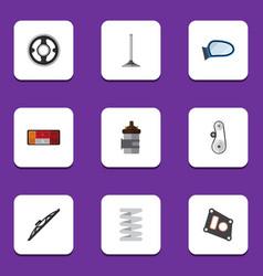 Flat icon component set of car segment cambelt vector