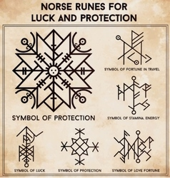 Futhark runes magic symbols set vector image vector image