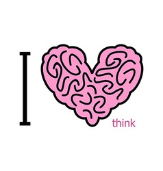 I love to think Heart symbol from brain heart vector image vector image