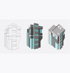 isometric business center modern 3d home plan vector image vector image