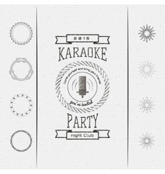 Karaoke party badges logos and labels for any use vector image