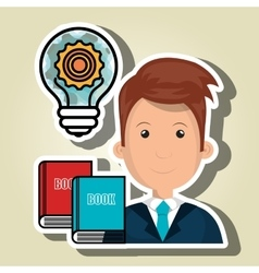Man books idea icon vector