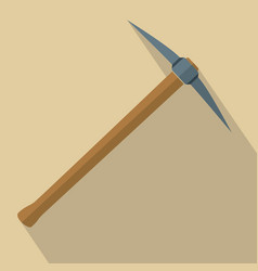 Pickaxe with wooden handle vector