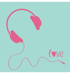Pink headphones with cord Blue background Love vector image vector image