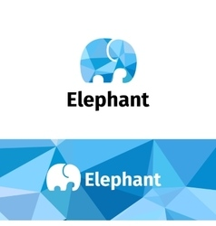 Polygonal minimalistic elephant logo low vector
