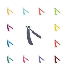 razor flat icons set vector image