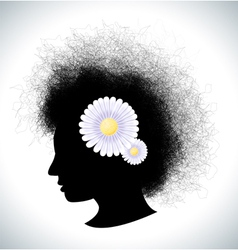 Retro girl silhouette with flowers vector