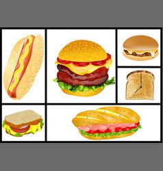 Sandwiches and hamburgers set vector
