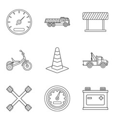 service car icons set outline style vector image vector image