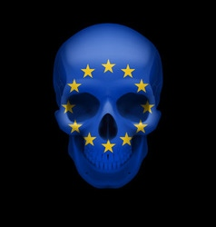 Skull with eu flag vector