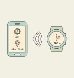 smartwatch and smartphone vector image vector image