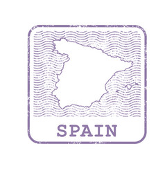 stamp with contour of map of spain vector image vector image