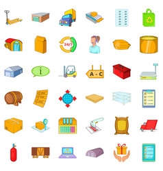 storehouse icons set cartoon style vector image vector image
