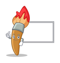 thumbs up with board paint brush character cartoon vector image