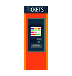 Tickets machine with sensor screen and convenient vector