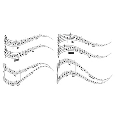 Wavy elements with music notes vector