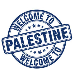 Welcome to palestine blue round vintage stamp vector