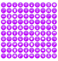 100 bullet icons set purple vector
