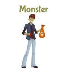 Young man dressed in green monster costume for vector image