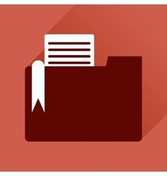 Flat icon with long shadow folder documents vector image