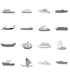 Ship and boat icons set gray monochrome style vector