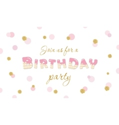 Birthday party invitation on polka dot festive vector