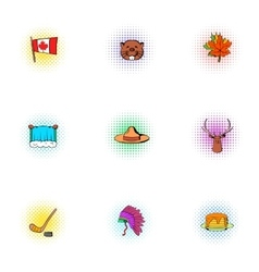 Canada icons set pop-art style vector
