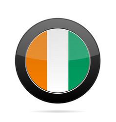 Flag of ivory coast shiny black round button vector