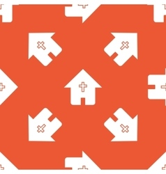 Orange christian house pattern vector