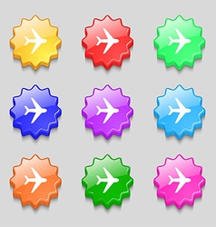Plane icon sign symbol on nine wavy colourful vector