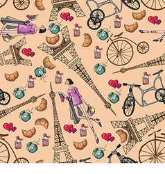 Pattern with the eiffel tower and perfume vector