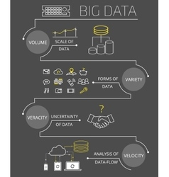 Infographic contour of big data - 4v vector