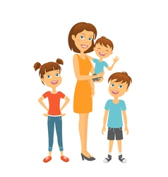 Mother with kids happy family mother and children vector